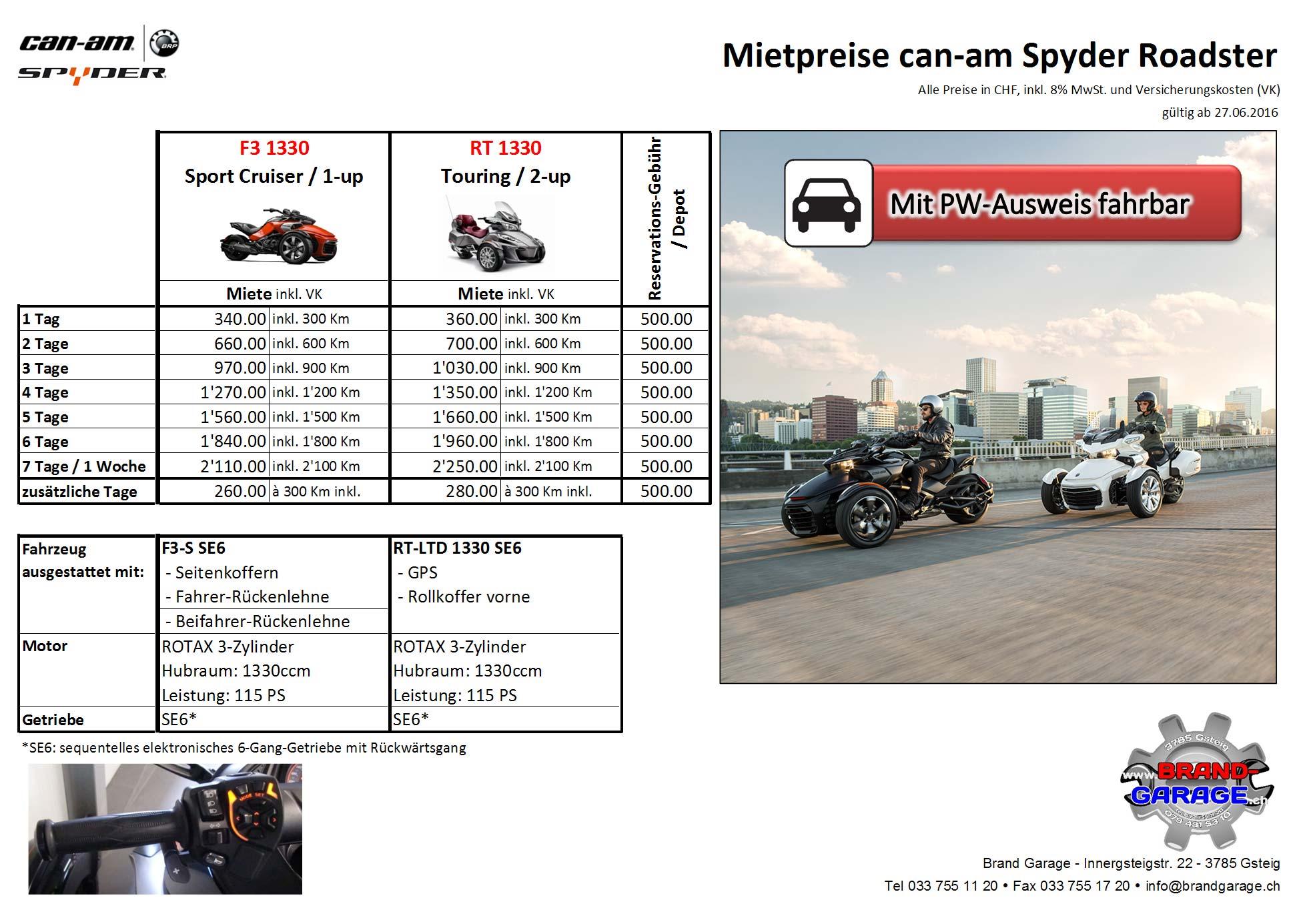 Mietpreisliste Spyder-Vermietung